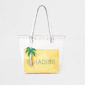 Cabas «Paradise» jaune transparent pour fille