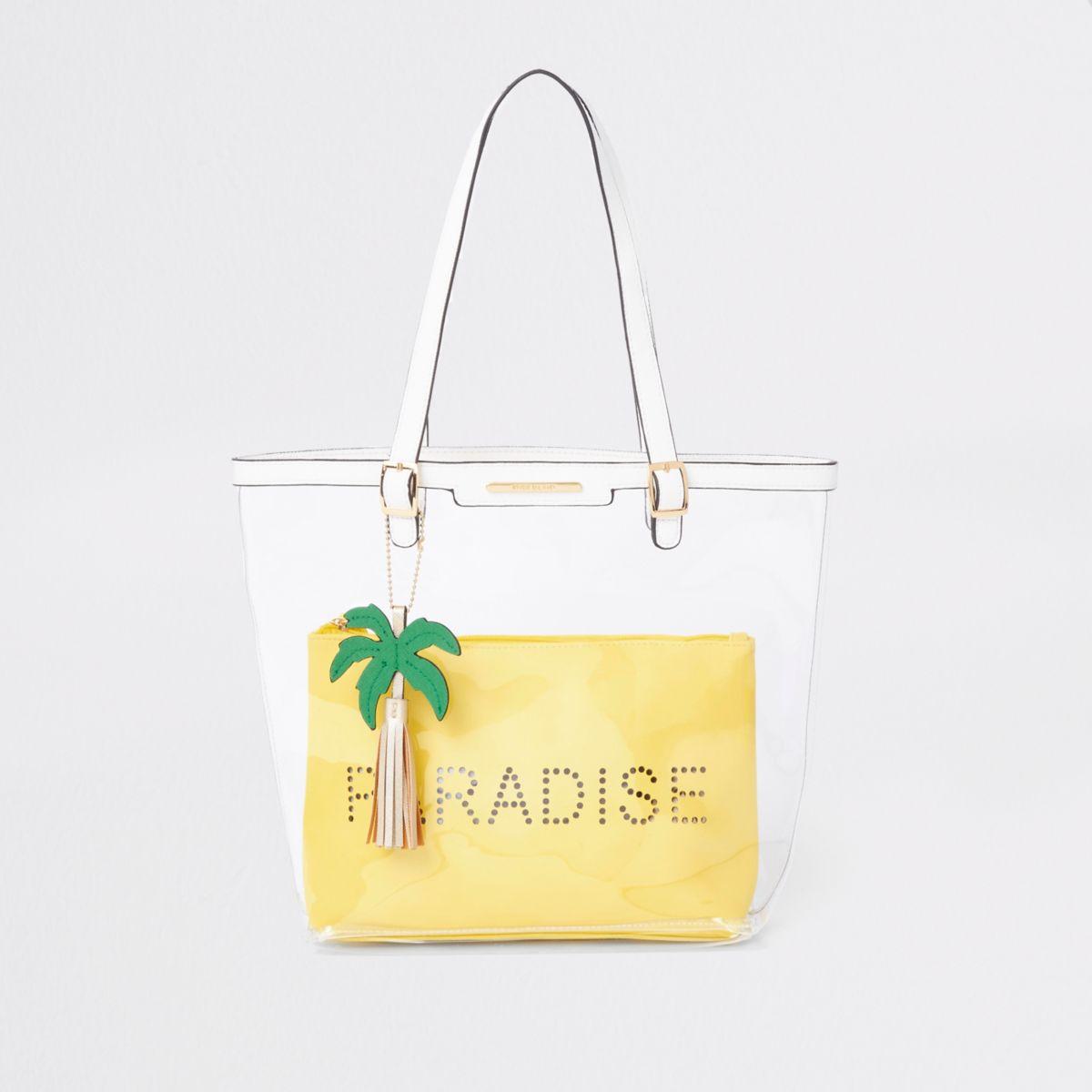 Girls yellow clear 'Paradise' shopper bag