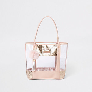Girls pink clear glitter shopper