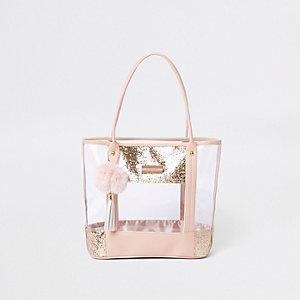 Girls pink clear glitter shopper