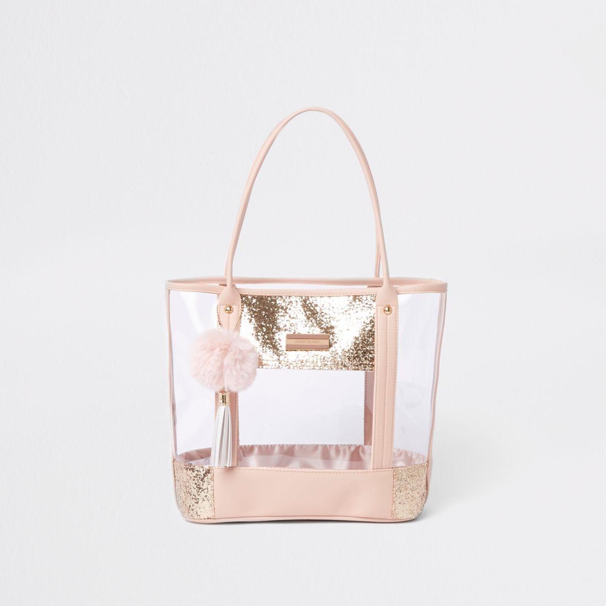 Cabas rose transparent à paillettes pour fille