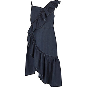 Girls blue denim asymmetric frill dress