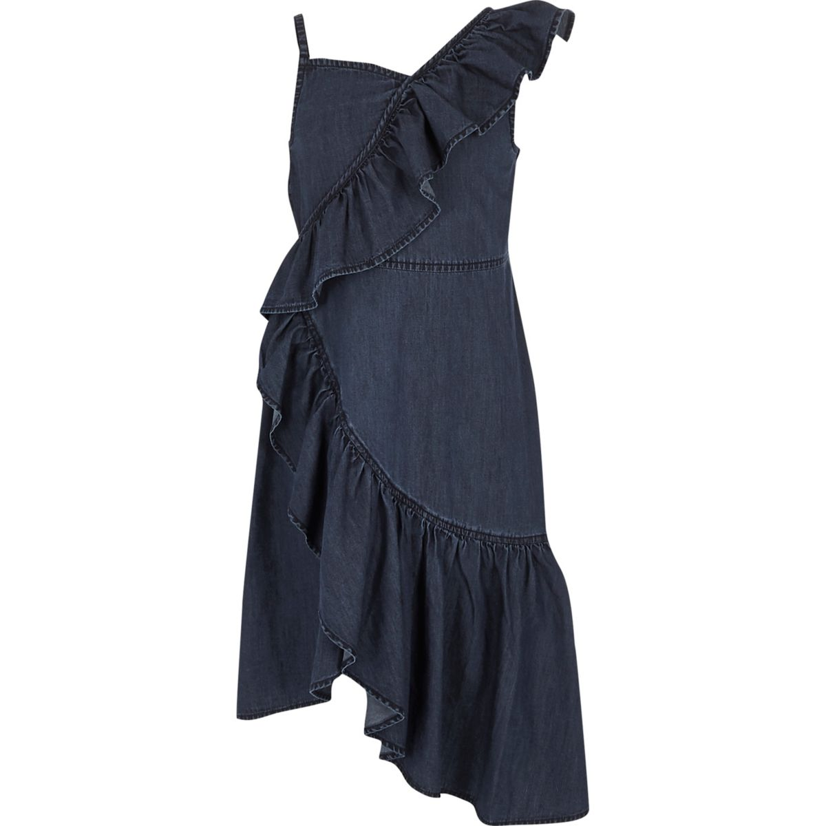 Girls blue denim asymmetric frill dress
