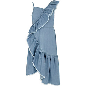 Girls light wash denim asymmetric frill dress