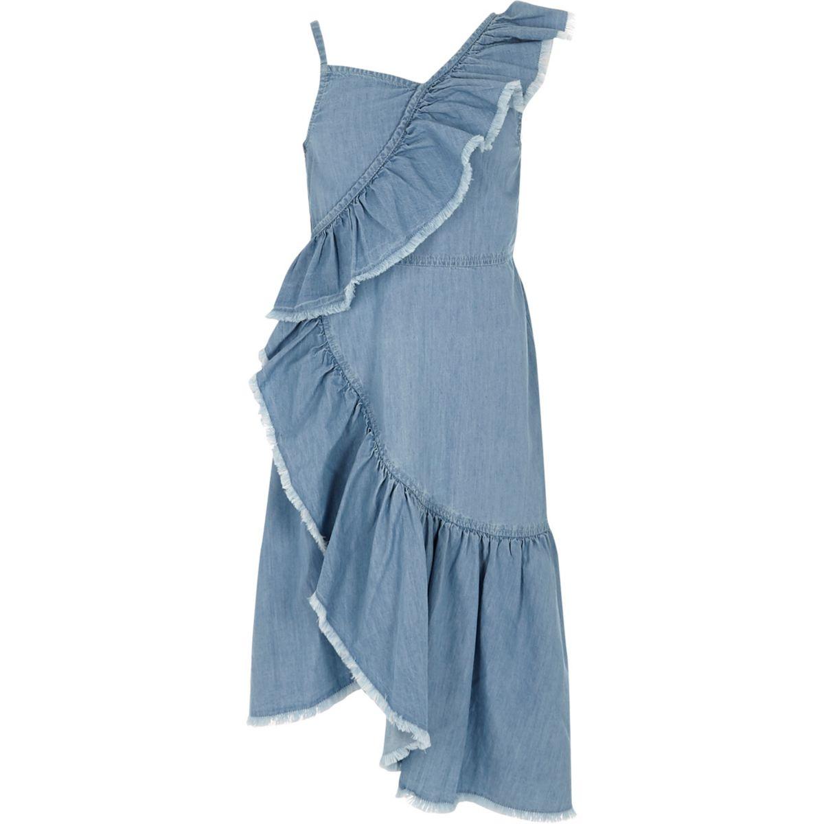 Girls light wash denim asymmetric frill dress