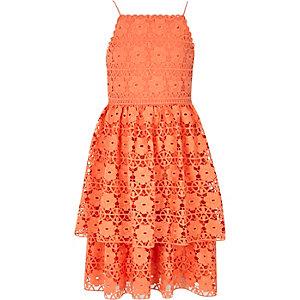 Oranje gelaagde kanten jurk met ruches voor meisjes