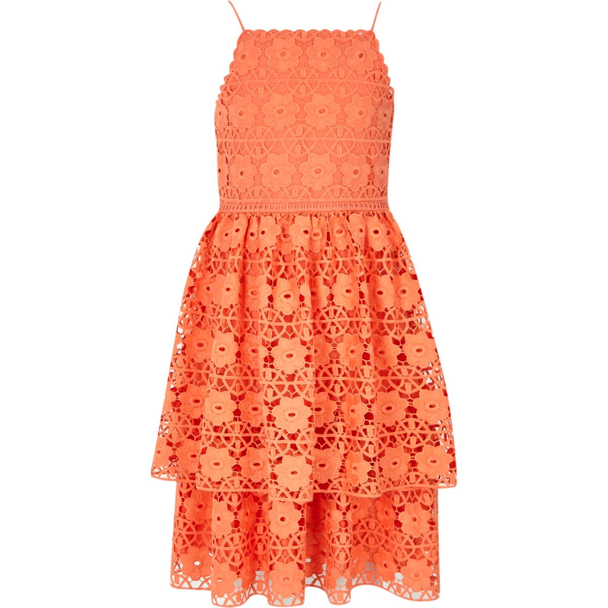 Robe orange en dentelle à volants pour fille