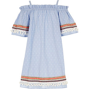 Robe trapèze en maille dobby bleue pour fille