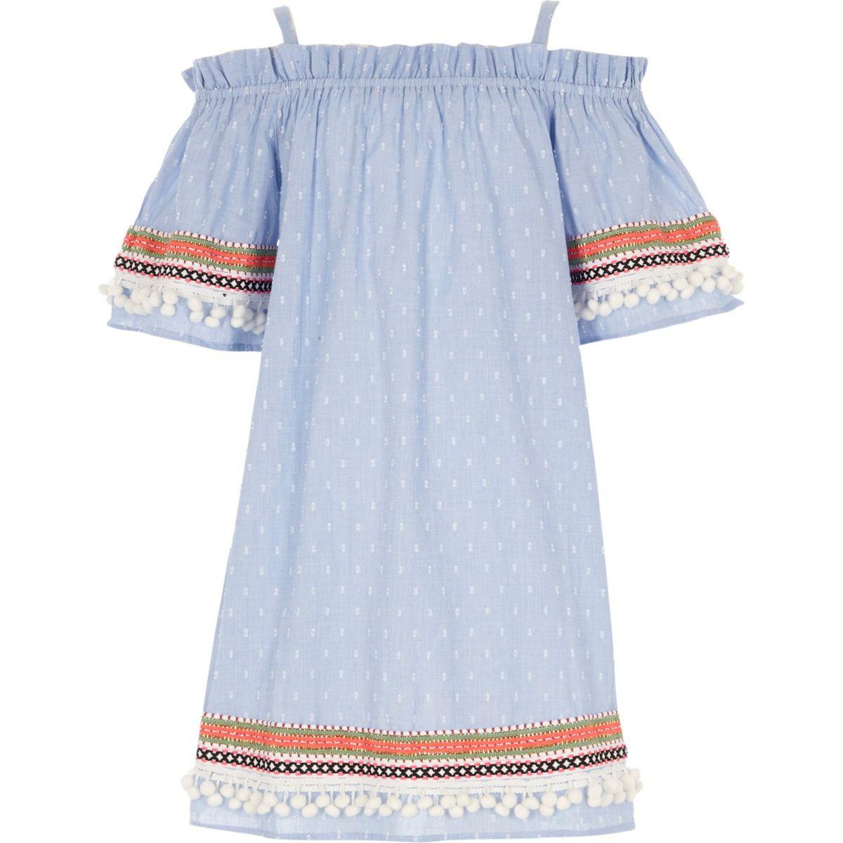 Girls blue dobby trapeze dress