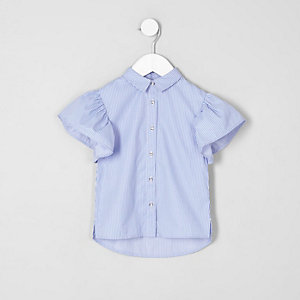 Mini girls blue stripe frill sleeve shirt