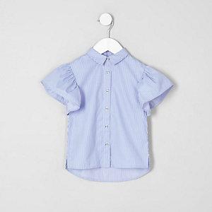 Chemise rayée bleue avec manches à volants mini fille