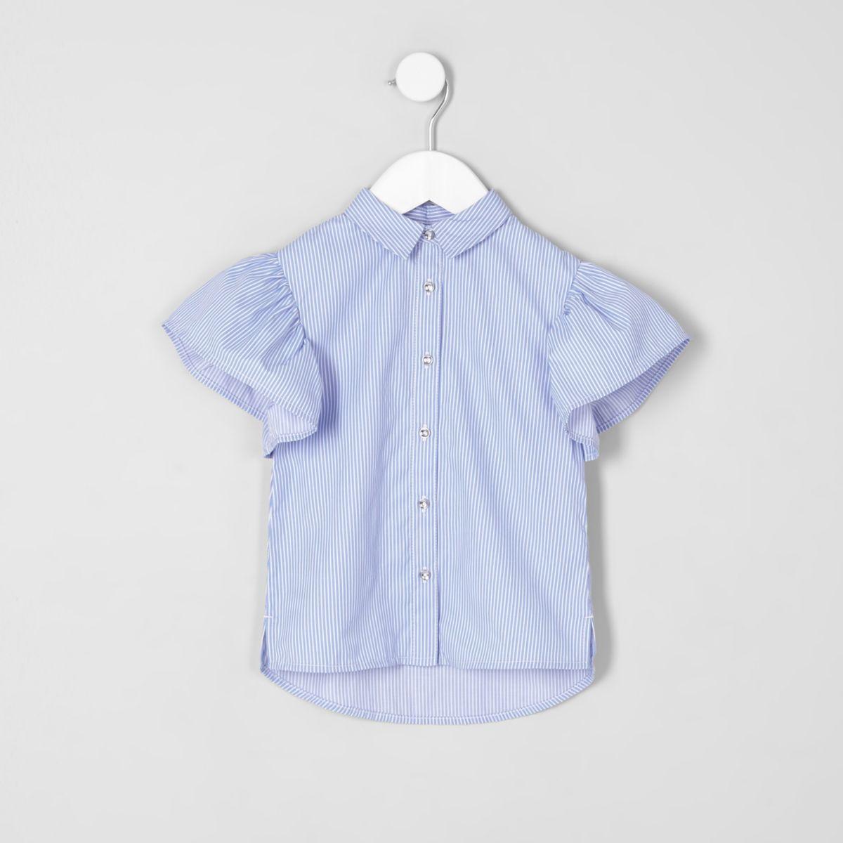 Mini girls blue stripe frill sleeve shirt