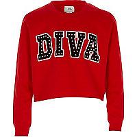 Sweat à imprimé « Diva » clouté rouge pour fille