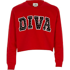 Girls red 'diva' studded sweatshirt