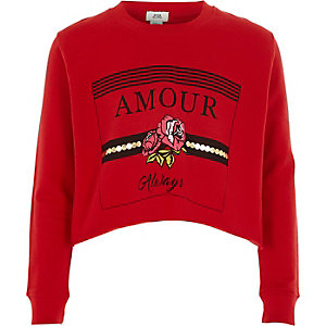 Girls red 'amour' print cropped sweatshirt