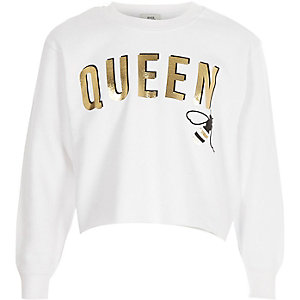 Girls white 'queen' bee cropped sweatshirt