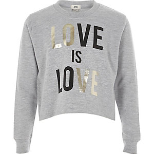 Girls grey 'love is love' cropped sweatshirt