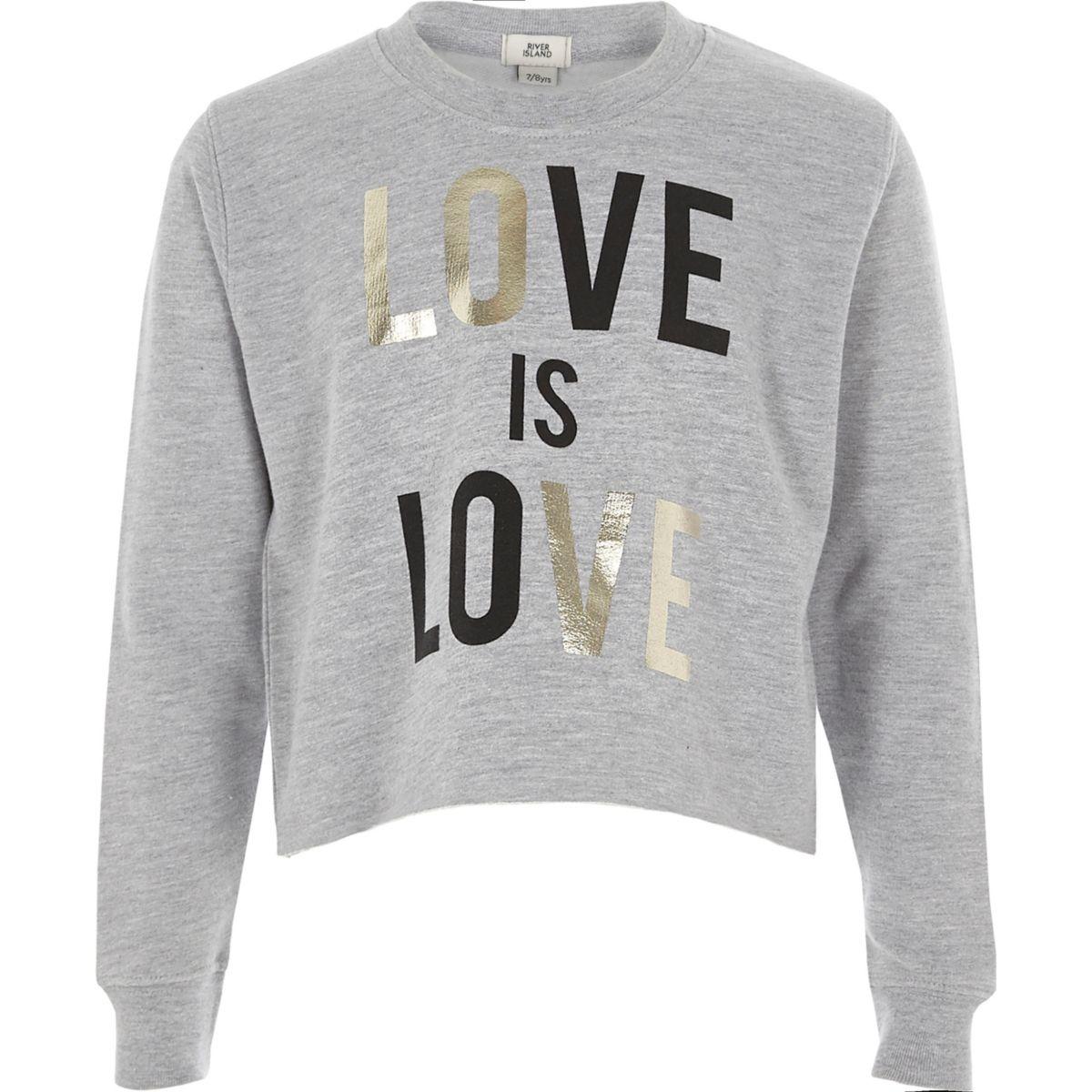 Girls grey 'love is love' cropped sweatshirt