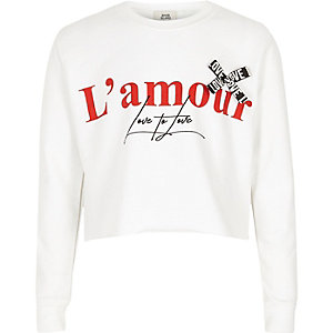 Girls white 'L'amour' ribbon crop sweatshirt