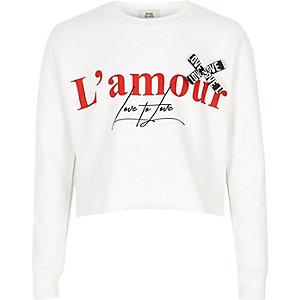 """Weißes, kurzes Sweatshirt """"L'amour"""""""