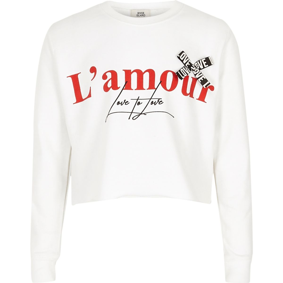 Girls white 'L'amour' ribbon crop sweatshirt