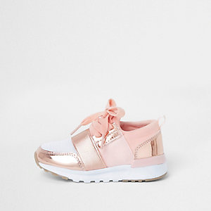 Mini girls rose gold metallic runner trainers