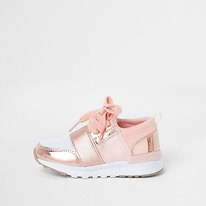 Baskets de course métallisées doré rose mini fille