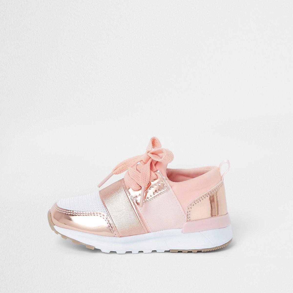 Mini girls rose gold metallic runner sneakers