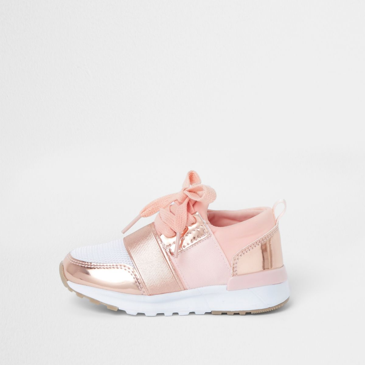Mini girls rose gold metallic runner sneakers