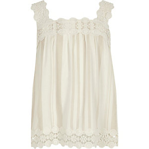 Girls cream lace trim cami top