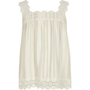 Girls cream lace trim cami top