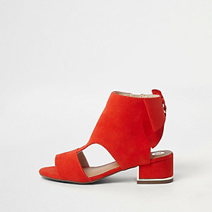 Girls red bow back shoe boots