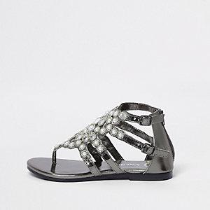 Sandales plates noires ornées de perles pour fille