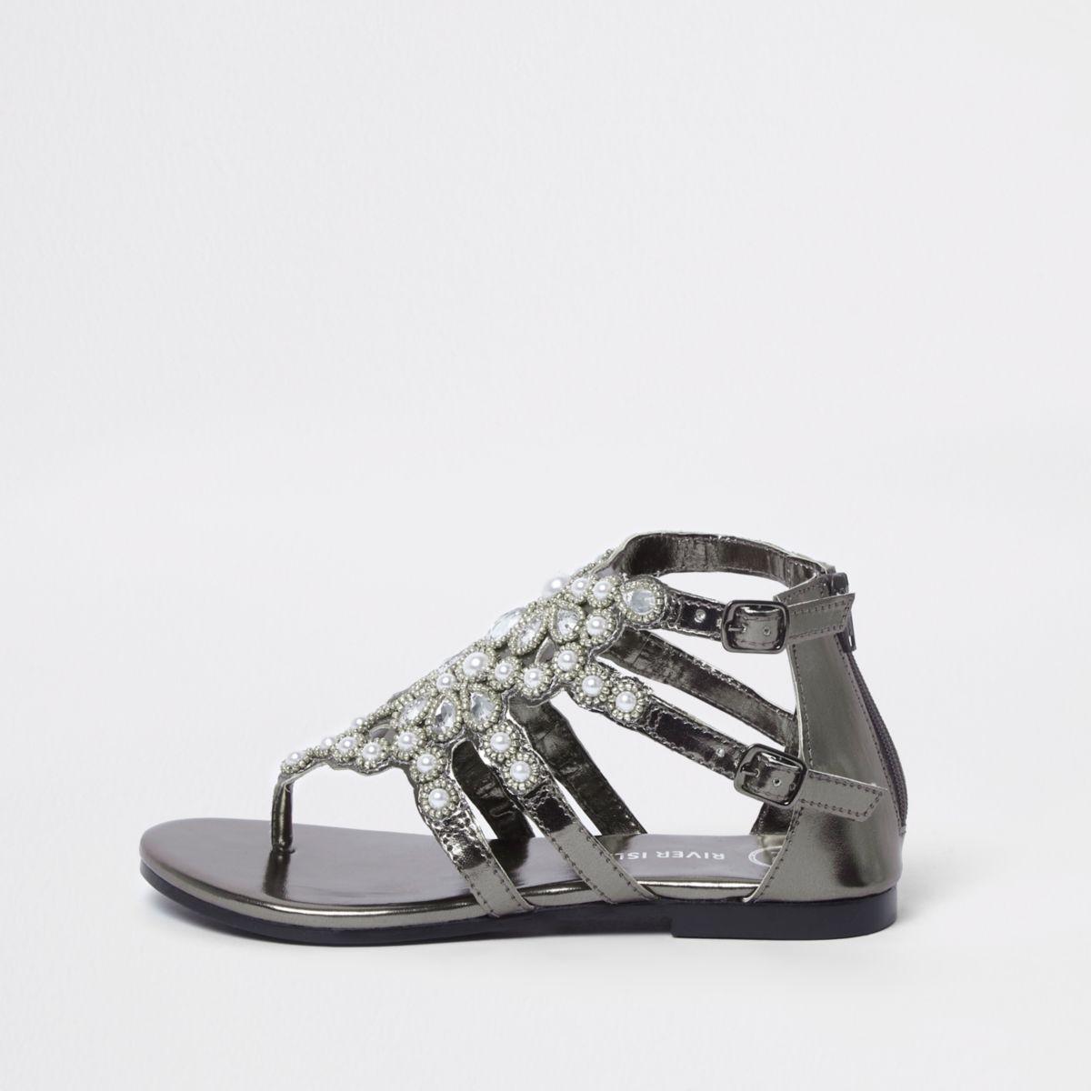 Girls black faux pearl flat sandals