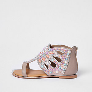 Girls pink gem embellished T-bar sandals