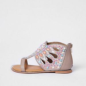 Roze verfraaide sandalen met T-bandje en siersteentjes voor meisjes