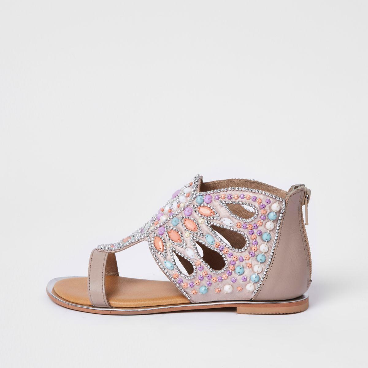 Girls pink gem embellished T-bar sandals