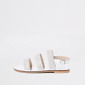Girls white pearl sling back sandals