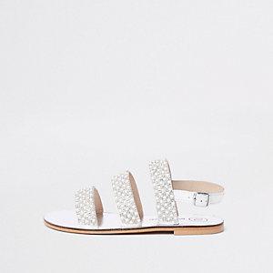 Witte slingback sandalen met pareltjes voor meisjes