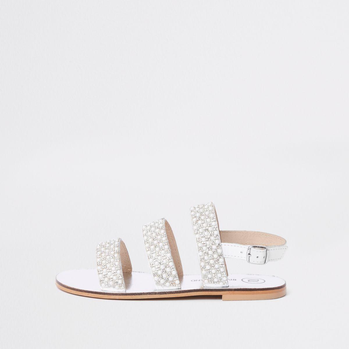 Sandales blanches à perles et bride arrière pour fille