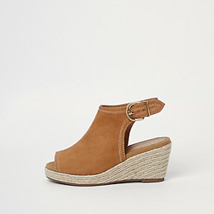 Girls tan espadrille wedge shoe boots