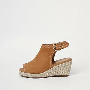 Bruine espadrille-schoenlaarsjes met sleehak voor meisjes