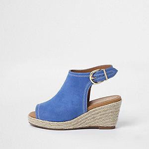 Blauwe espadrille-schoenlaarsjes met sleehak voor meisjes