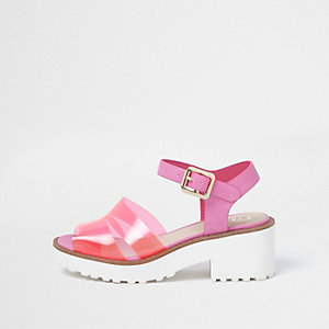 Girls pink jelly strap block heel sandals