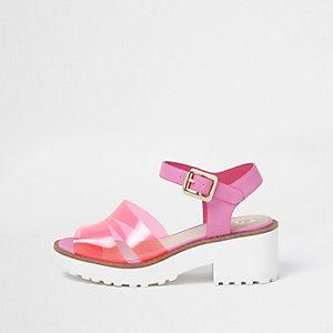 Roze jelly sandalen met bandjes en blokhak voor meisjes