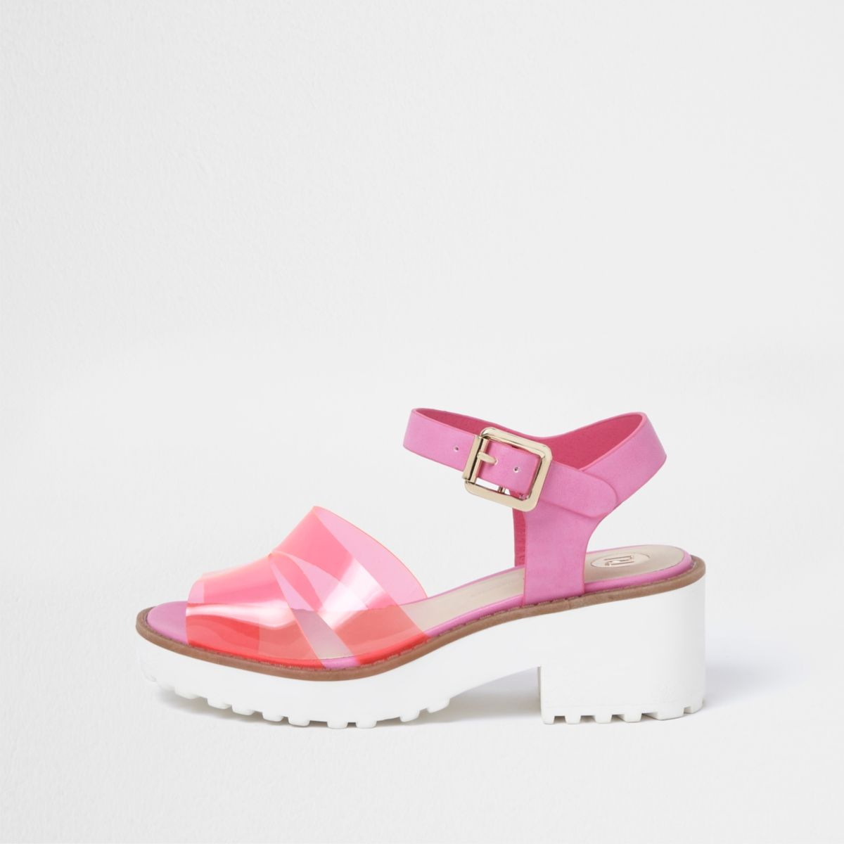 Girls pink jelly strap block heel sandals