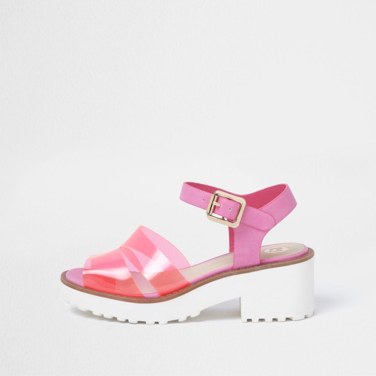 Sandales roses à talon carré et brides en plastique pour fille