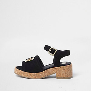 Girls black RI branded chunky cork sandals