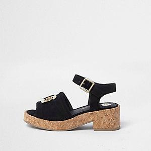 Girls black RI branded chunky cork sandals