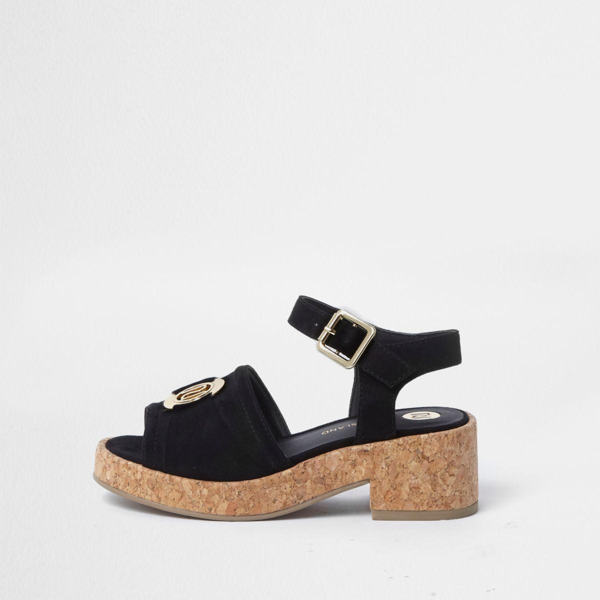 Sandales noires avec logo RI à semelles épaisses en liège pour fille